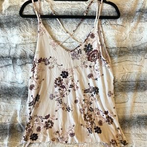 American Eagle Floral Strappy Slit Tank Top